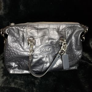 Coach leather patented shoulder bag dark gray